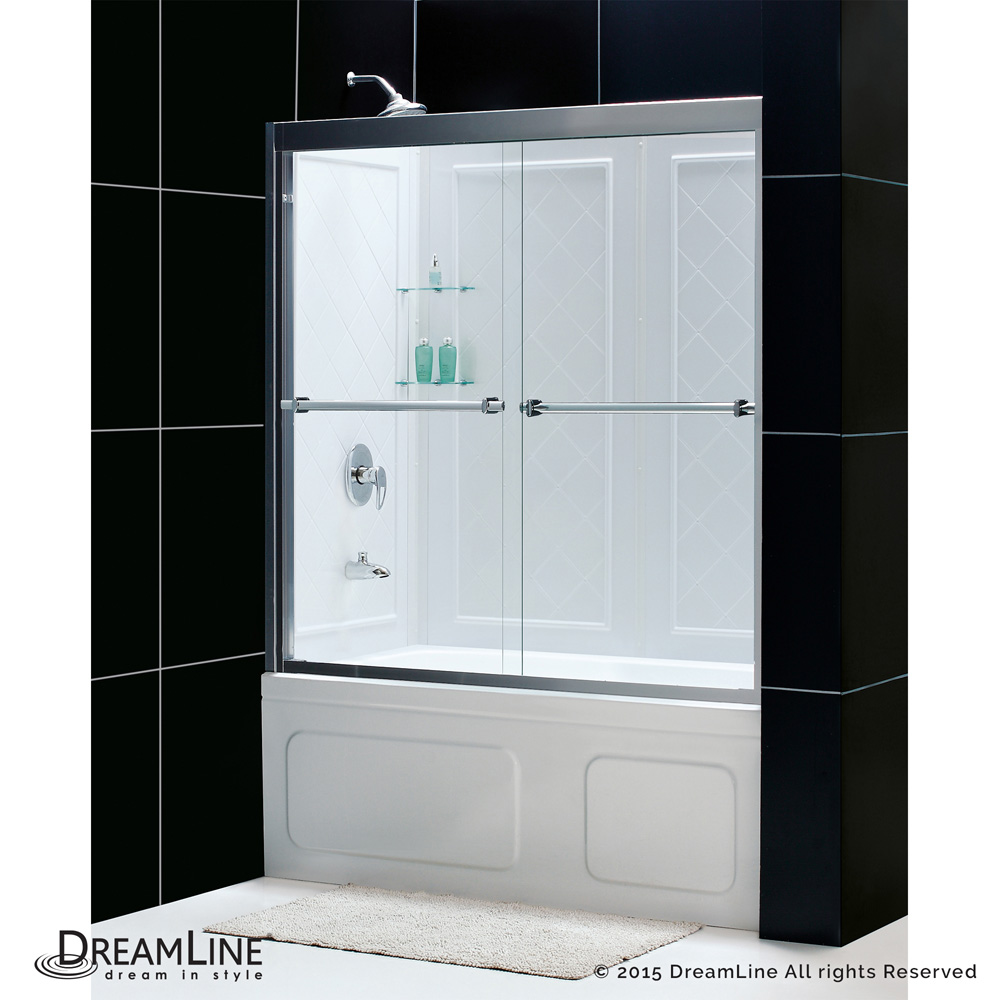 bath authority dreamline duet frameless bypass tub door and qwall tub backwalls kit 56 to 59. Black Bedroom Furniture Sets. Home Design Ideas