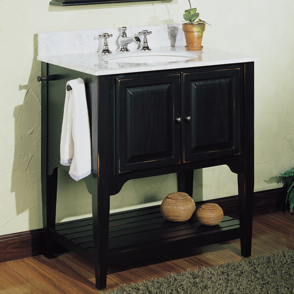 Fairmont designs 30 lifestyle collection american shaker - Black distressed bathroom vanity ...