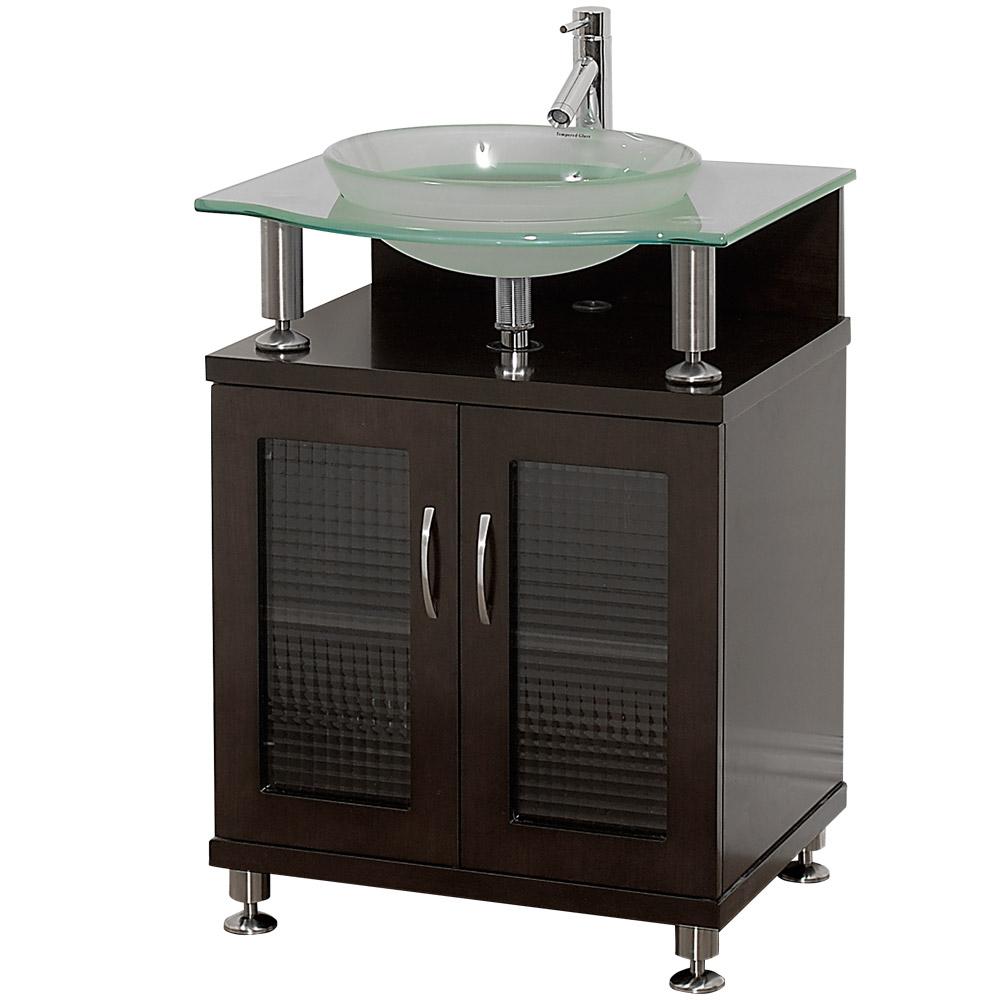 Charlton 24 bathroom vanity with doors espresso w - Bathroom vanity with frosted glass doors ...