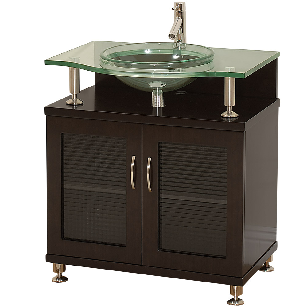 Charlton 30 Bathroom Vanity Doors Only Espresso W Clear Glass Countertop Free Shipping