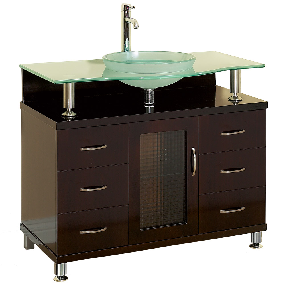 """Charlton 36"""" Bathroom Vanity with Drawers - Espresso w/ Clear or Frosted Glass Counter   Free ..."""