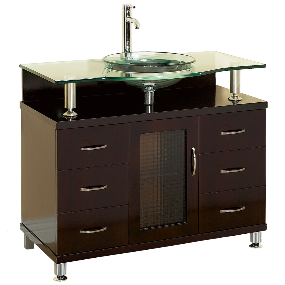 Charlton 42 bathroom vanity with drawers espresso w for Small bathroom vanity with drawers