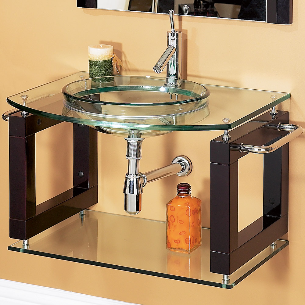 Laguna 34 wall mounted bathroom vanity with glass for Wall mounted bathroom countertop