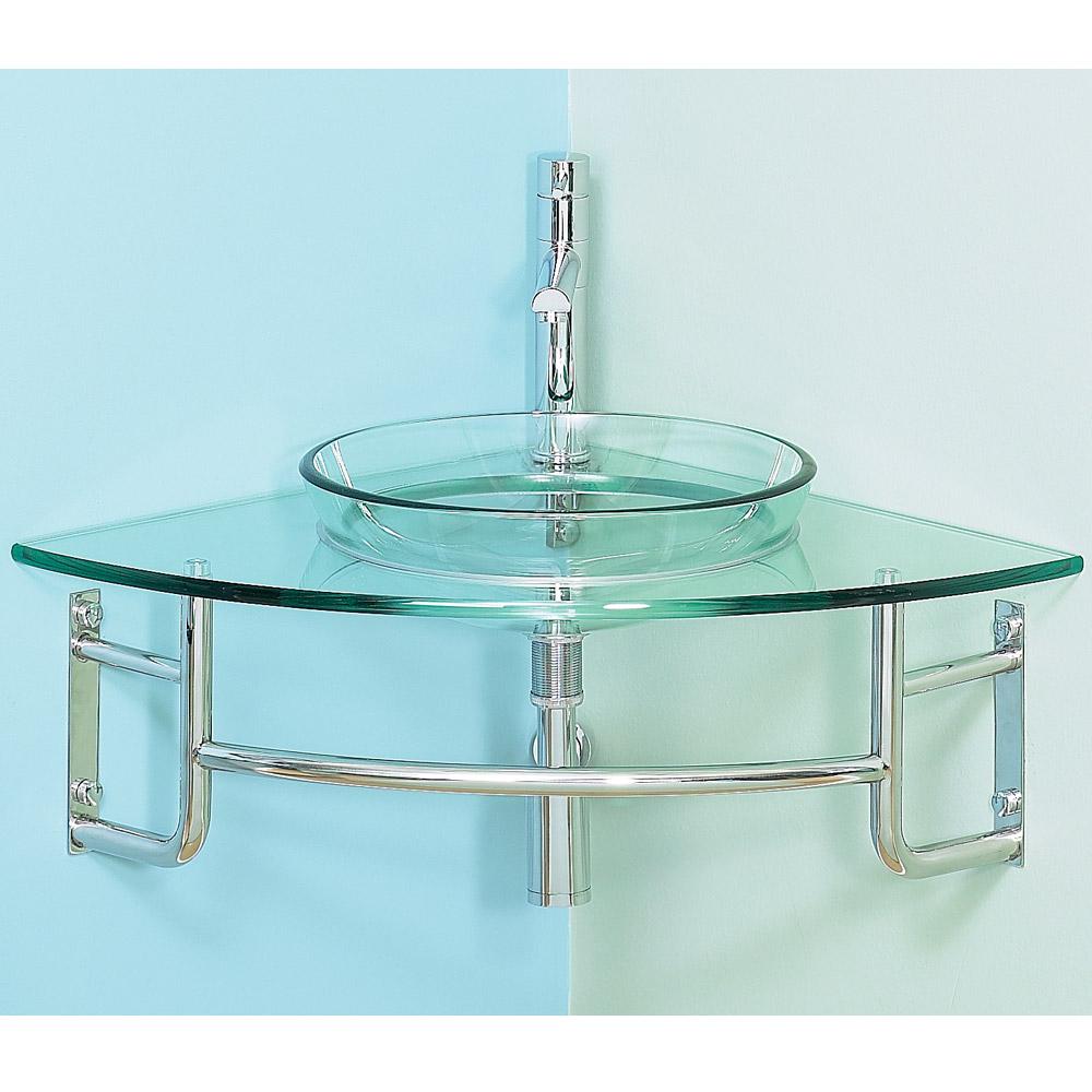 "Diamond 24"" Corner Bathroom Vanity with Glass Countertop ..."