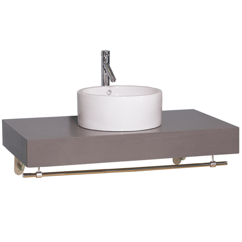 Shiro Custom Wall Mounted Bathroom Vanity Concrete Caesarstone W Corsica Vessel Sink