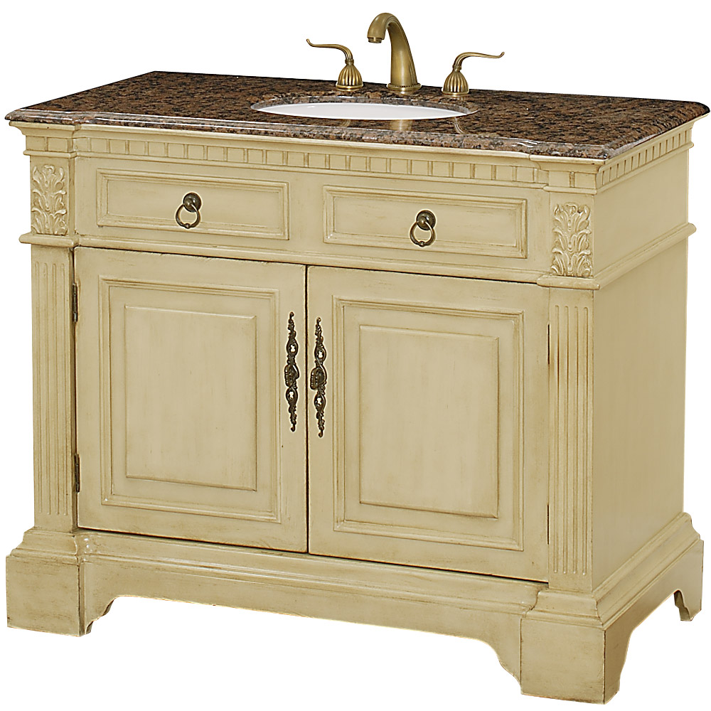 Somerset 43 Traditional Wood Bathroom Vanity Antique White W Baltic Brown Granite Counter