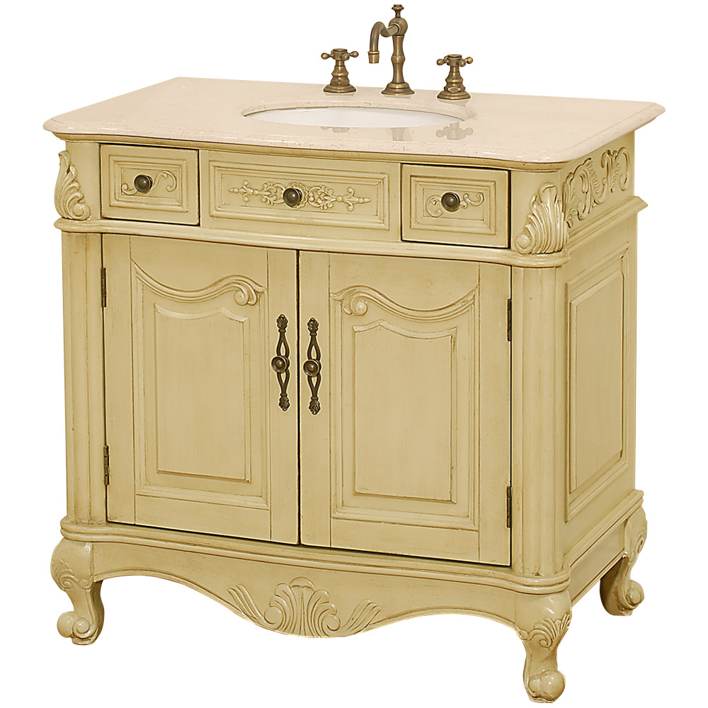Colonia 36 Antique Bathroom Vanity Antique White W Ivory Marble Counter Free Shipping