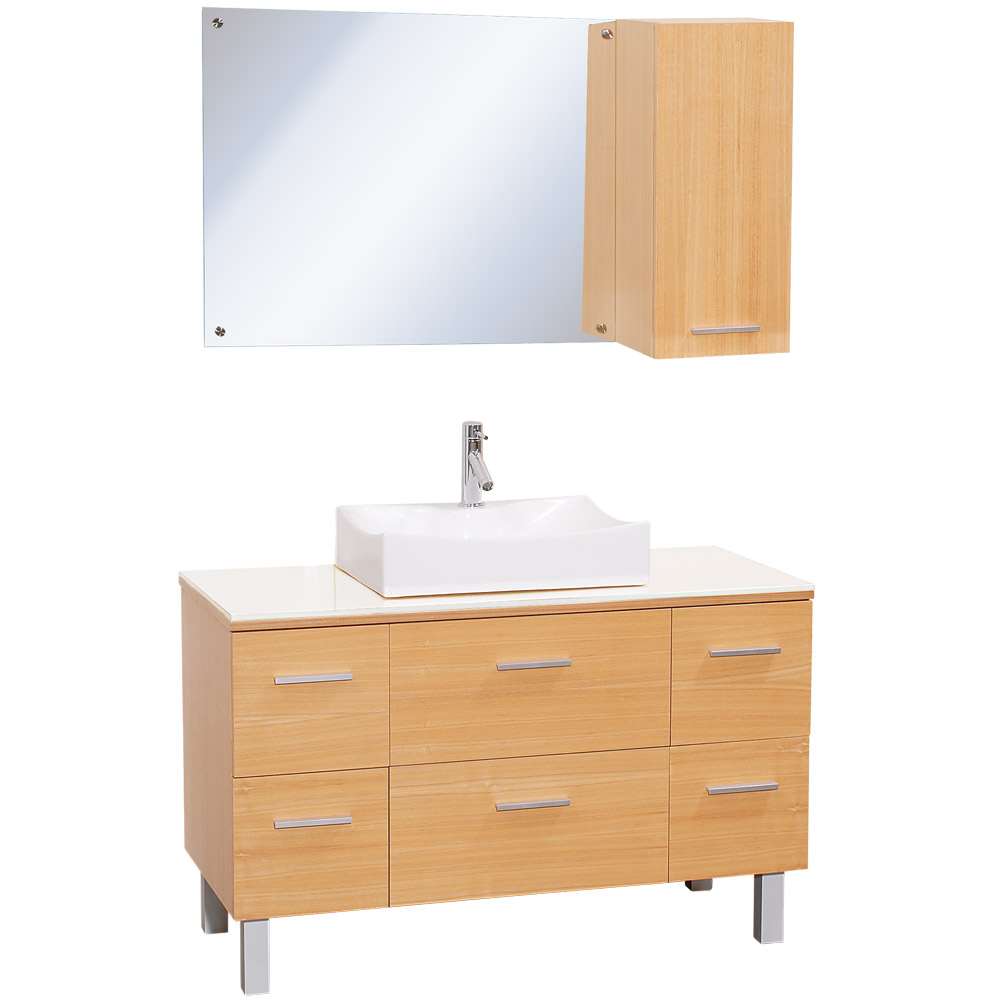 Vanity Counter Set : Millia quot modern bathroom vanity set natural w white