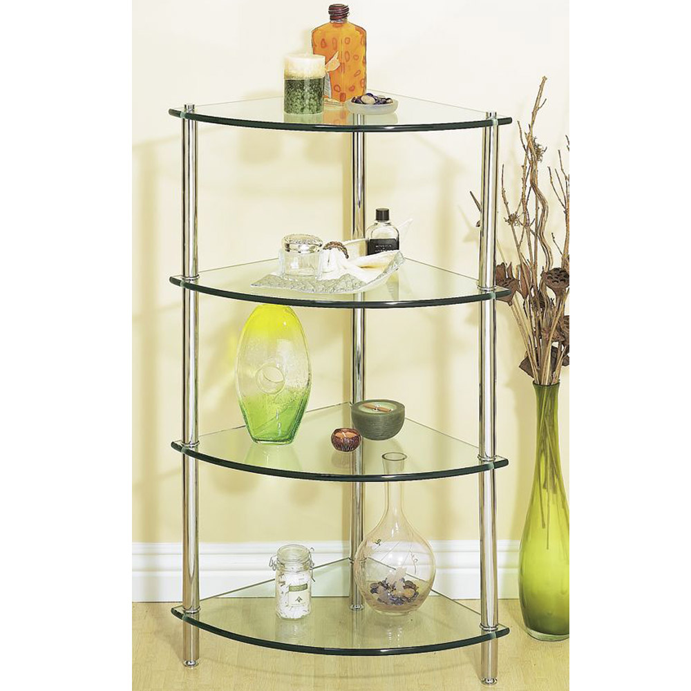 Corner glass bathroom shelf unit free shipping modern - Bathroom glass corner shelves shower ...