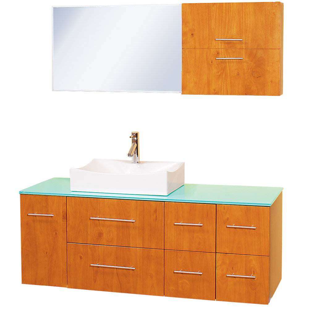 "Honey Oak Cabinets Photos 12 Of 24: Christo 54"" Modern Bathroom Vanity Set - Honey Oak"