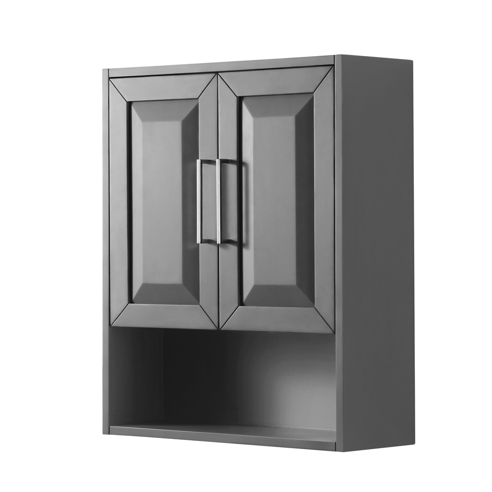 Daria over toilet wall cabinet by wyndham collection dark gray free shipping modern bathroom for Wyndham bathroom wall cabinet