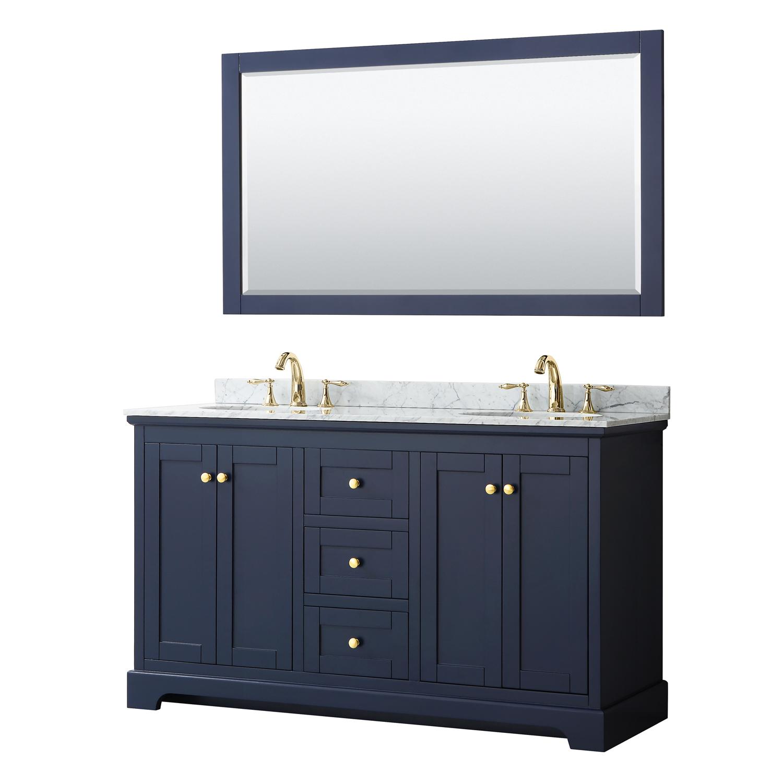 Avery 60 Double Bathroom Vanity By Wyndham Collection Dark Blue Free Shipping Modern Bathroom