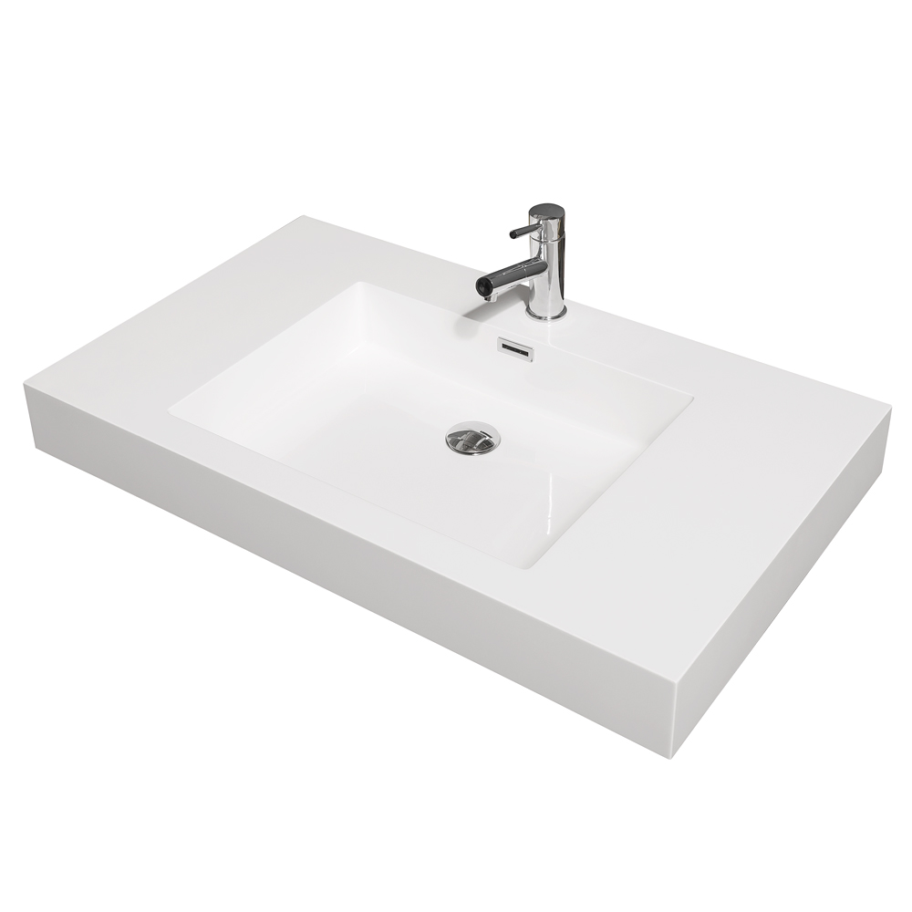 Amare 36 Wall Mounted Bathroom Vanity Set With Integrated Sink By