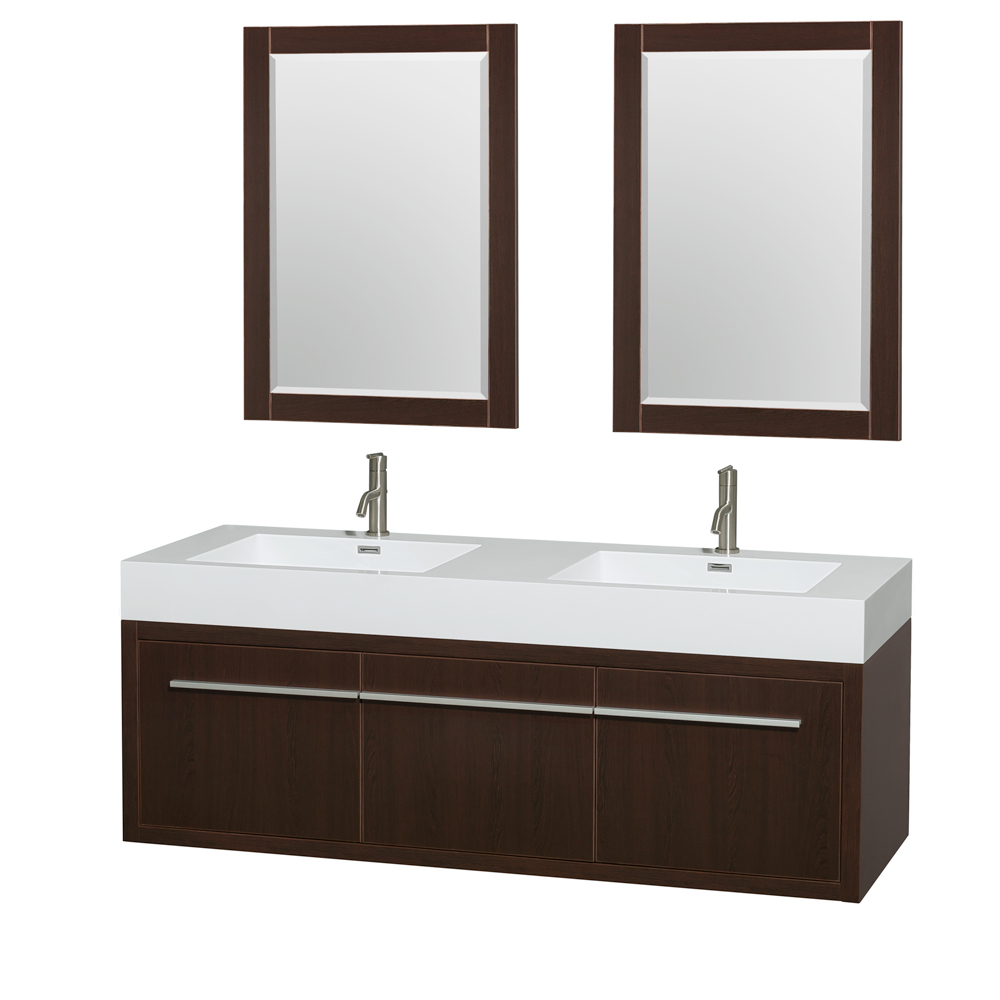 Axa 60 quot  Wall Mounted Double Bathroom Vanity Set With Integrated Sinks  by Wyndham Collection. Shop Bathroom Vanities  Sinks  Showers  Tubs   More Online