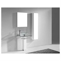 "Madeli Rimini 24"" Glass Top Bathroom Vanity - Glossy White B942-06-001-GW-GLASS"