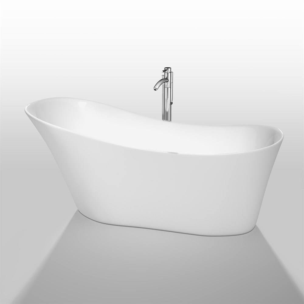 "Janice 67"" Soaking Bathtub by Wyndham Collection - White WC-BTO854-67"