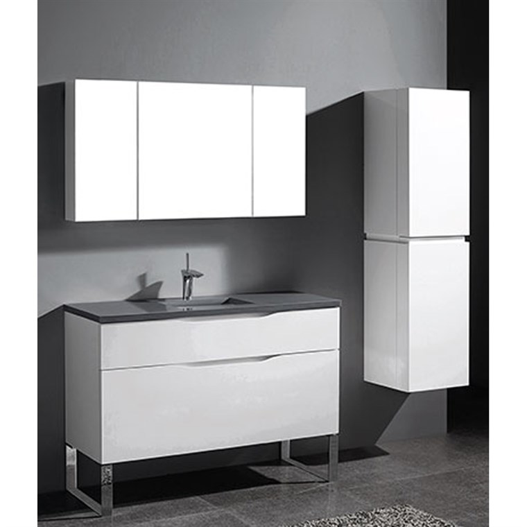 "Madeli Milano 48"" Bathroom Vanity for Quartzstone Top - Glossy White B200-48C-021-GW-QUARTZ"