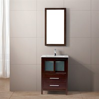 "Vigo 24"" Alessandro Single Bathroom Vanity with Mirror - Wenge VG09019118K"
