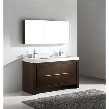 """Madeli Vicenza 60"""" Double Bathroom Vanity with Quartzstone Top, Walnut B999-60CD-001-WA-QUARTZ by Madeli"""