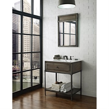 "Fairmont Designs 30"" Toledo Open Shelf Vanity with Integrated Sink Option, Driftwood Gray 1401-VH30- by Fairmont Designs"