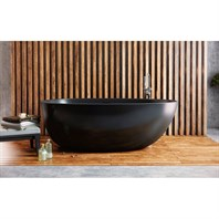 Aquatica Spoon 2 Egg Shaped Graphite Black Solid Surface Bathtub - Matte Black Aquatica Spoon2M-Blck