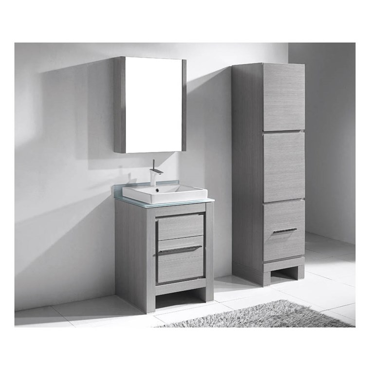 "Madeli Vicenza 24"" Bathroom Vanity for Glass Counter and Porcelain Basin - Ash Grey B999-24-001-AG-GLASS"