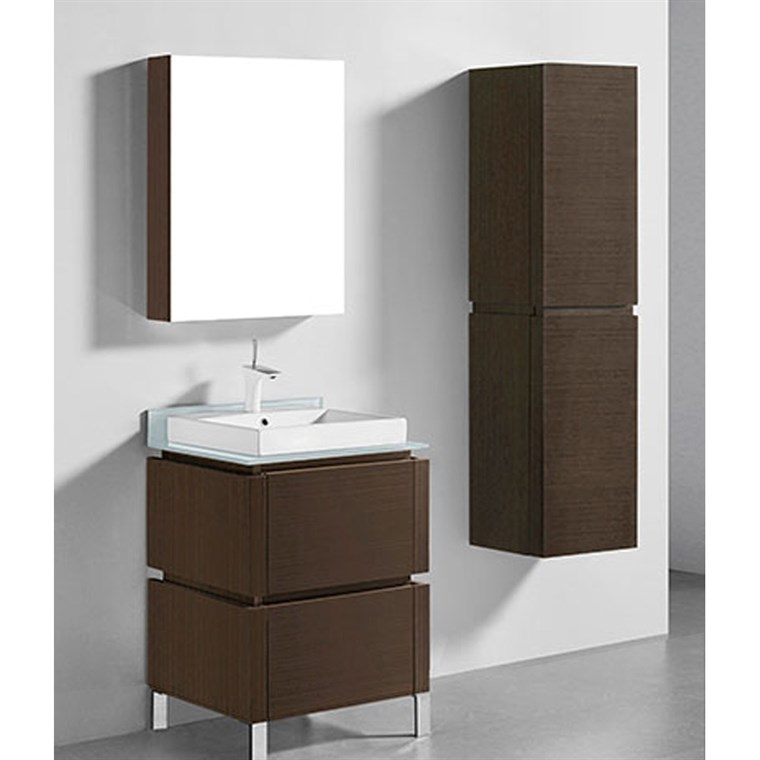 "Madeli Metro 24"" Bathroom Vanity for Glass Counter and Porcelain Basin - Walnut B600-24-001-WA-GLASS"