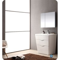 "Fresca Milano 32"" Modern Bathroom Vanity with Medicine Cabinet - Glossy White FVN8532WH"
