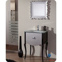 "Fresca Platinum Viena 24"" Glossy Silver and Black Bathroom Vanity with Swarovski Handles FPVN7512SL-BL"