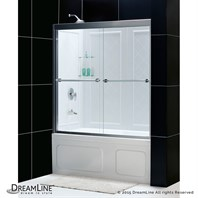 "Bath Authority DreamLine Duet Frameless Bypass Tub Door and QWALL-Tub Backwalls Kit (56"" to 59"") DL-6996"