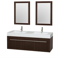 "Axa 60"" Wall-Mounted Bathroom Vanity Set With Integrated Sinks by Wyndham Collection - Espresso WC-R4300-60-VAN-ESP"