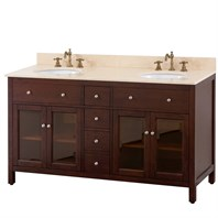 "Avanity Lexington 60"" Double Bathroom Vanity - Light Espresso LEXINGTON-60-LE"