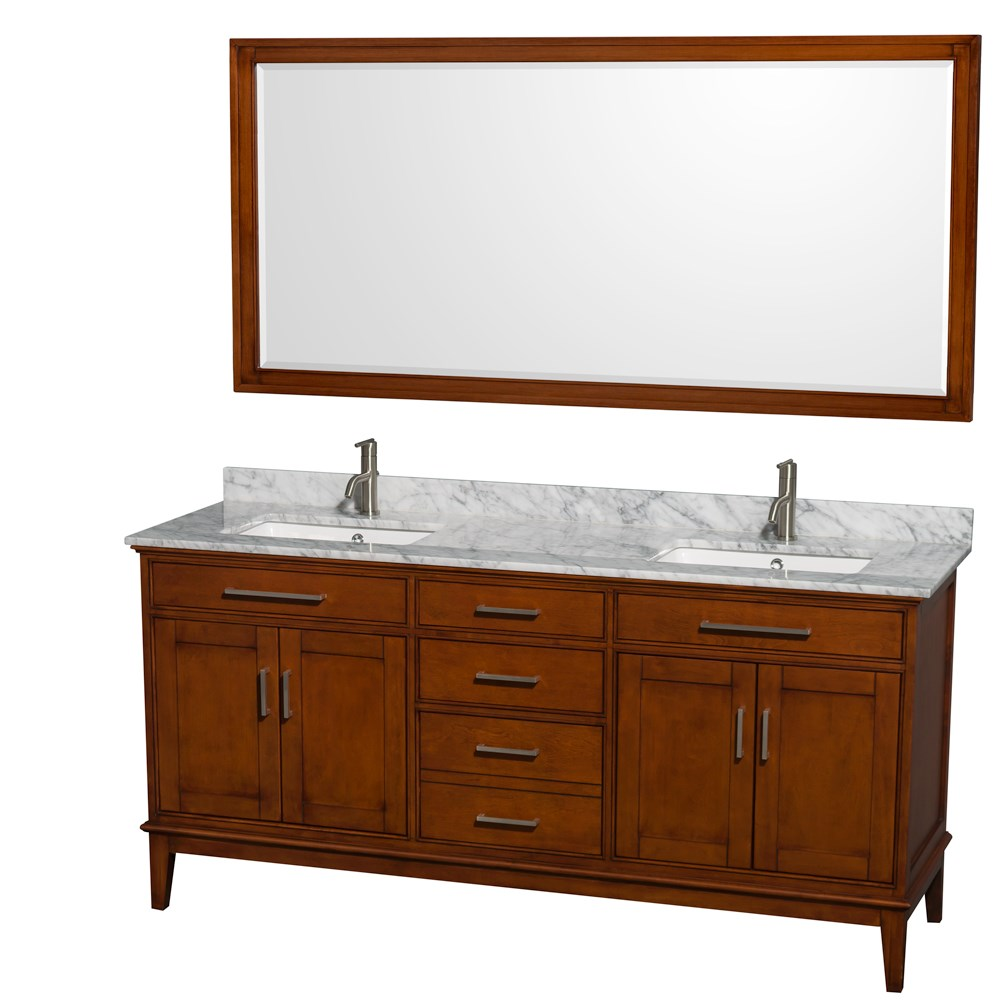 Hatton 72 Double Bathroom Vanity By Wyndham Collection Light Chestnut Wc 1616