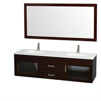 "Manola 72"" Double Wall-Mounted Bathroom Vanity Set by Wyndham Collection - Espresso WC-B051-72-ESP"