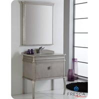 "Fresca Platinum London 32"" Antique Silver Bathroom Vanity with Swarovski Handles FPVN7524SA"