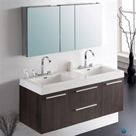 Fresca Opulento Gray Oak Modern Double Sink Bathroom Vanity with Medicine Cabinet FVN8013GO