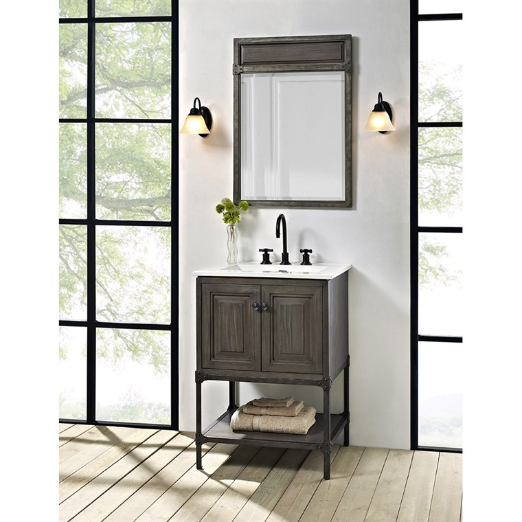 "Fairmont Designs Toledo 24"" Vanity with Doors for Integrated Top - Driftwood Gray 1401-24-"