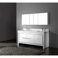 "Madeli Vicenza 72"" Double Bathroom Vanity with Quartzstone Top - Glossy White B999-72D-001-GW-QUARTZ"
