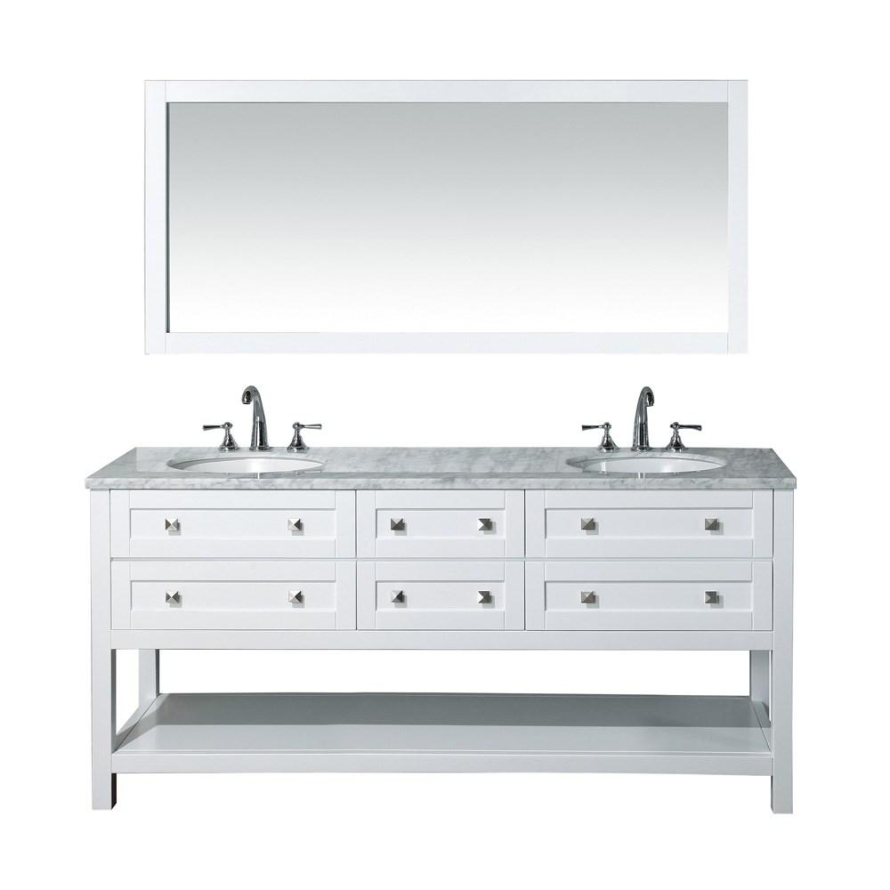 Stufurhome Marla 72 Double Sink Bathroom Vanity With Mirror White