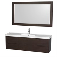 "Murano 60"" Wall-Mounted Bathroom Vanity Set with Integrated Sink by Wyndham Collection - Espresso WC-7777-60-SGL-VAN-ESP"