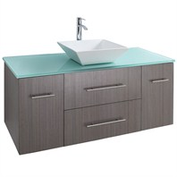 "Bianca 48"" Wall-Mounted Modern Bathroom Vanity - Gray Oak WHE007-48-GROAK"