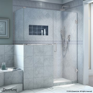 "DreamLine Unidoor Plus 53"" Hinged Shower Enclosure with 30"" W Inline Buttress Panel SHEN-3053BUTTRESS by Bath Authority DreamLine"