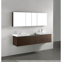 "Madeli Venasca 72"" Double Bathroom Vanity - Walnut 2X-B990-24-002-WA, 2X-UC990-24-007-WA"