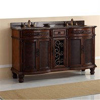 "James Martin 60"" Venetian Double Vanity with Granite Top - Brown Cherry 206-001-5517"