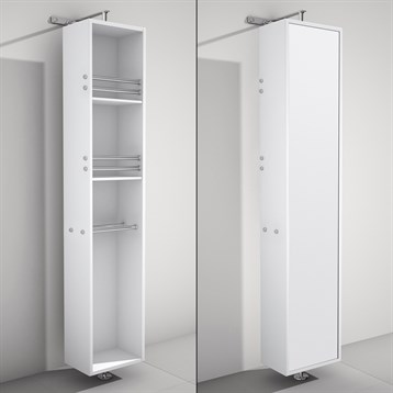 April Rotating Floor Cabinet with Mirror by Wyndham Collection, Matte White WC-V202-WHT by Wyndham Collection®