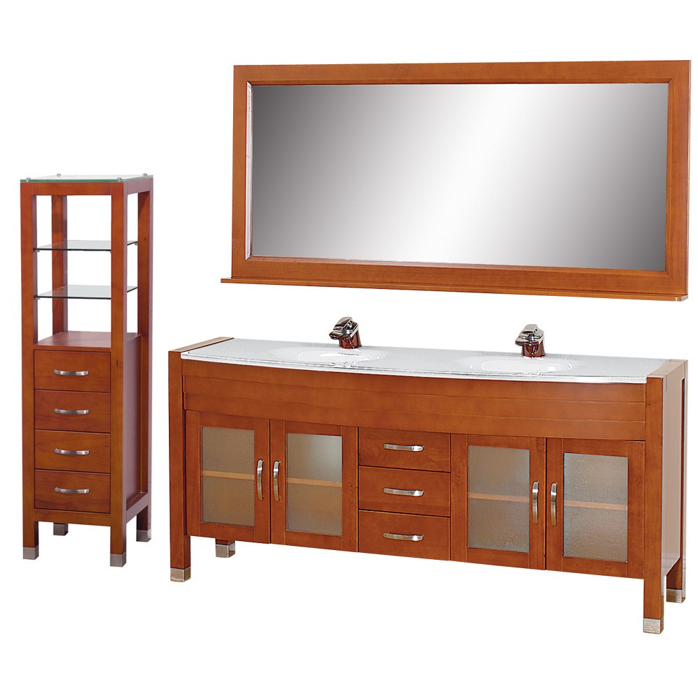 "Daytona 71"" Double Bathroom Vanity Set by Wyndham Collection - Cherry w/ Drawers & Cabinetnohtin Sale $1889.00 SKU: WC-A-W2200-71-CH-SET- :"