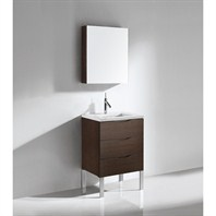"Madeli Milano 24"" Bathroom Vanity with Quartzstone Top - Walnut Milano-24-WA-Quartz"