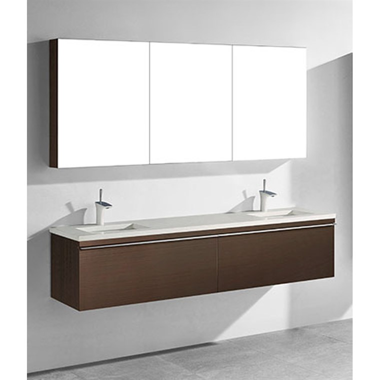 "Madeli Venasca 72"" Double Bathroom Vanity for Quartzstone Top - Walnut B990-72D-002-WA-QUARTZ"