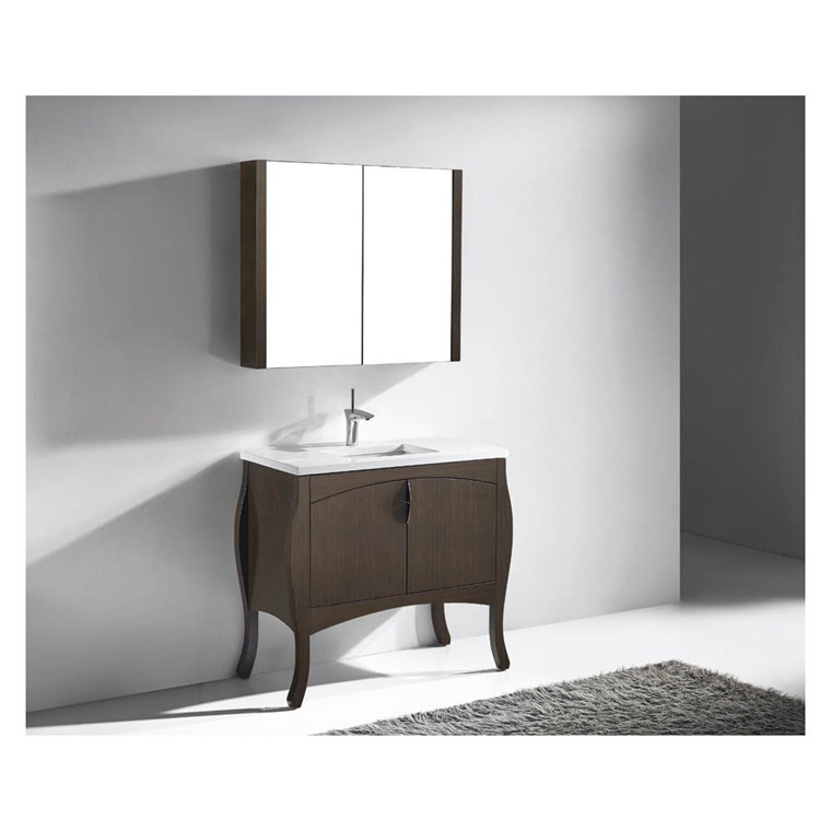 "Madeli Sorrento 39"" Bathroom Vanity for Quartzstone Top - Walnut B953-39-001-WA-QUARTZ"