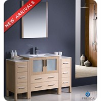 "Fresca Torino 54"" Light Oak Modern Bathroom Vanity with 2 Side Cabinets, Integrated Sink, and Mirror FVN62-123012LO-UNS"